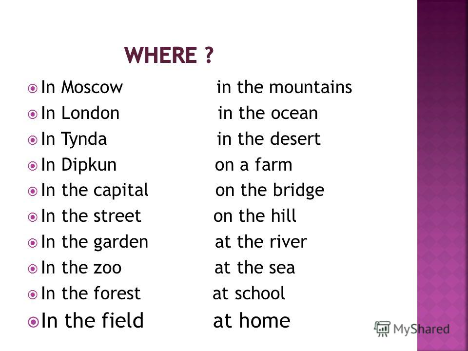 In Moscow in the mountains In London in the ocean In Tynda in the desert In Dipkun on a farm In the capital on the bridge In the street on the hill In the garden at the river In the zoo at the sea In the forest at school In the field at home