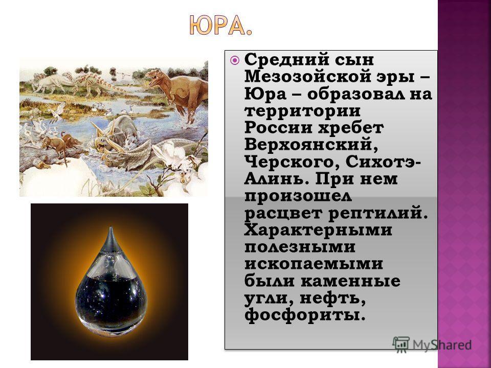 Средний сын Мезозойской эры – Юра – образовал на территории России хребет Верхоянский, Черского, Сихотэ- Алинь. При нем произошел расцвет рептилий. Характерными полезными ископаемыми были каменные угли, нефть, фосфориты.