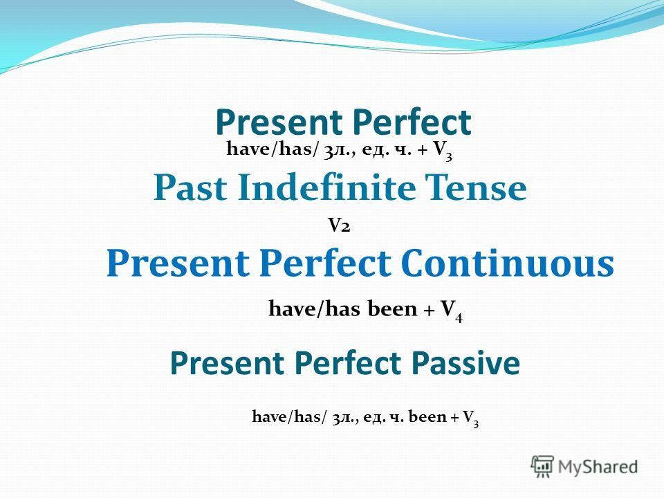 Present Perfect Passive have/has/ 3л., ед. ч. + V 3 Past Indefinite Tense V2 Present Perfect Continuous Present Perfect have/has been + V 4 have/has/ 3л., ед. ч. been + V 3