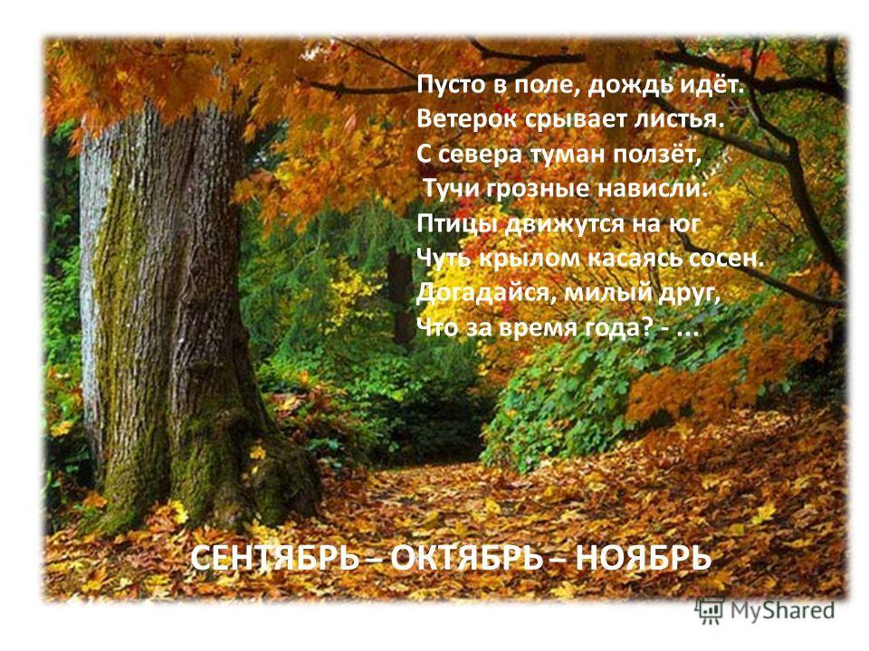 СЕНТЯБРЬ – ОКТЯБРЬ – НОЯБРЬ Пусто в поле, дождь идёт. Ветерок срывает листья. С севера туман ползёт, Тучи грозные нависли. Птицы движутся на юг Чуть крылом касаясь сосен. Догадайся, милый друг, Что за время года? -...