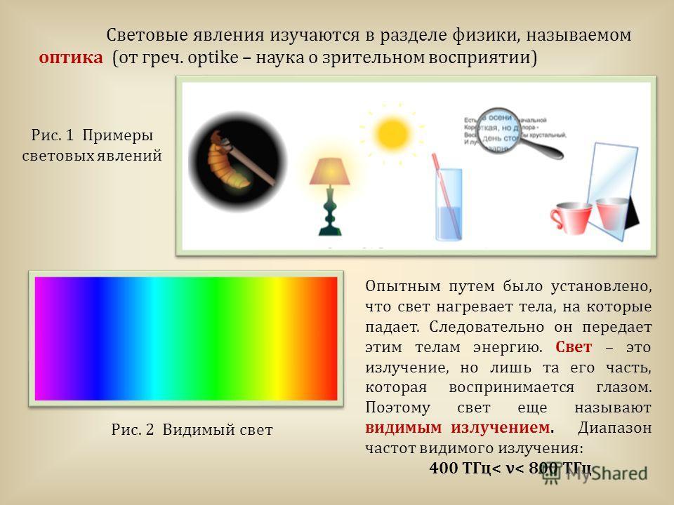 Рис. 1 Примеры световых явлений Рис. 2 Видимый свет Световые явления изучаются в разделе физики, называемом оптика (от греч. оptike – наука о зрительном восприятии) Опытным путем было установлено, что свет нагревает тела, на которые падает. Следовате
