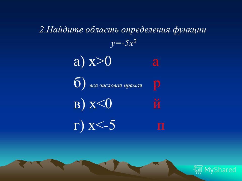 2.Найдите область определения функции у=-5х 2 а) х>0 а б) вся числовая прямая р в) х