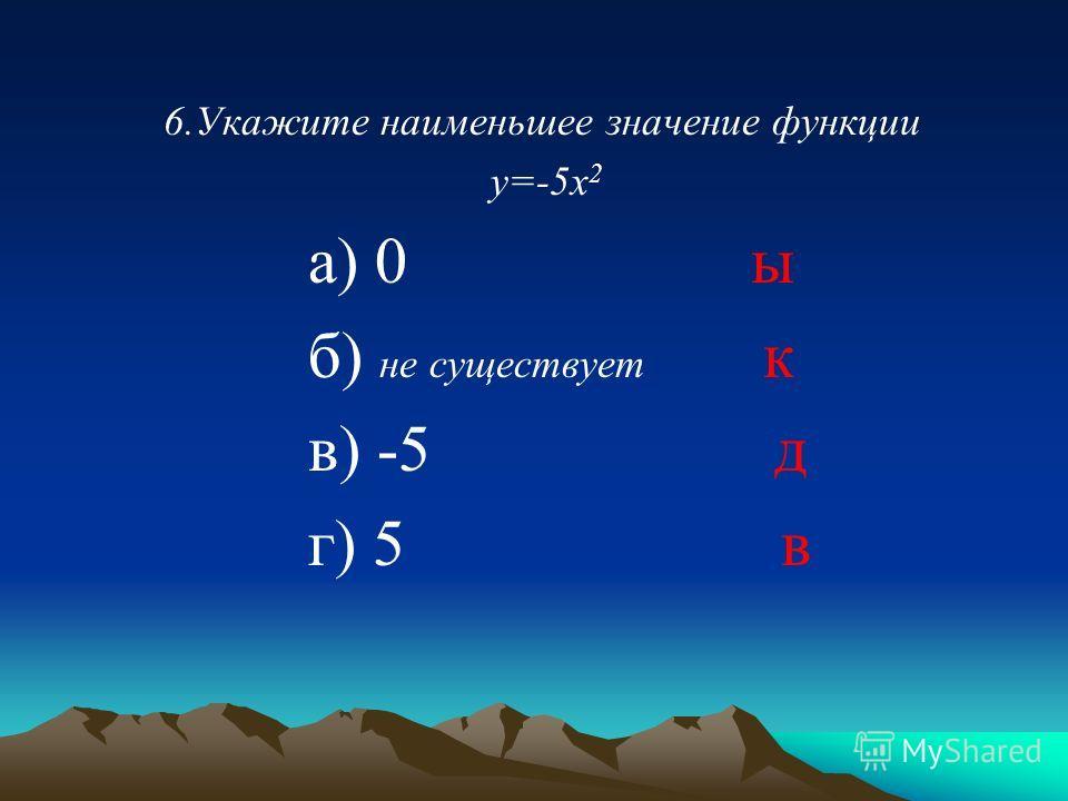 6.Укажите наименьшее значение функции у=-5х 2 а) 0 ы б) не существует к в) -5 д г) 5 в