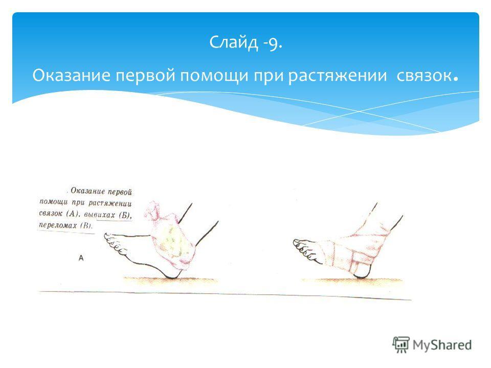 Слайд -9. Оказание первой помощи при растяжении связок.