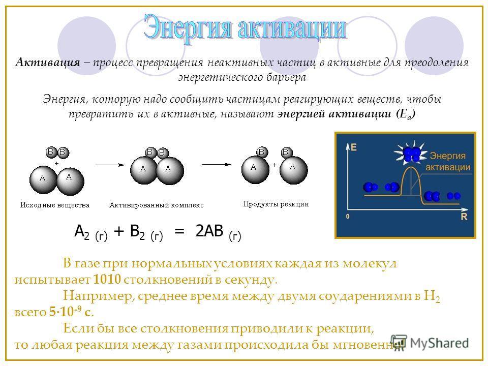 В газе при нормальных условиях каждая из молекул испытывает 1010 столкновений в секунду. Например, среднее время между двумя соударениями в Н 2 всего 5·10 -9 с. Если бы все столкновения приводили к реакции, то любая реакция между газами происходила б