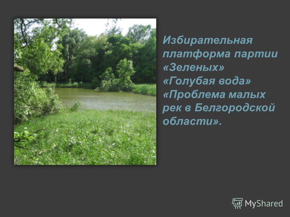 Избирательная платформа партии «Зеленых» «Голубая вода» «Проблема малых рек в Белгородской области».