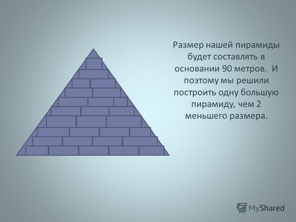 Размер нашей пирамиды будет составлять в основании 90 метров. И поэтому мы решили построить одну большую пирамиду, чем 2 меньшего размера.