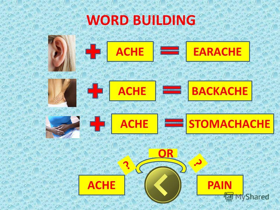 WORD BUILDING ACHEEARACHE ACHEBACKACHE ACHESTOMACHACHE PAINACHE OR ? ?