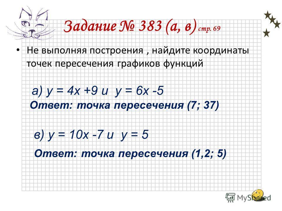 Задание 9 Условие параллельности графиков линейных функций: Условие совпадения графиков линейных функций: Условие пересечения графиков линейных функций: y =k 1 x + b 1, y = k 2 x +b 2 k 1 = k 2, b 1 =b 2