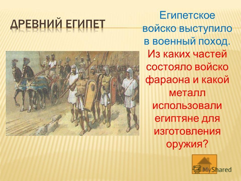 Египетское войско выступило в военный поход. Из каких частей состояло войско фараона и какой металл использовали египтяне для изготовления оружия?