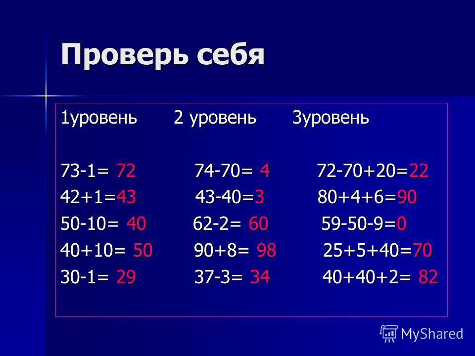 Проверь себя 1уровень 2 уровень 3уровень 73-1= 72 74-70= 4 72-70+20=22 42+1=43 43-40=3 80+4+6=90 50-10= 40 62-2= 60 59-50-9=0 40+10= 50 90+8= 98 25+5+40=70 30-1= 29 37-3= 34 40+40+2= 82