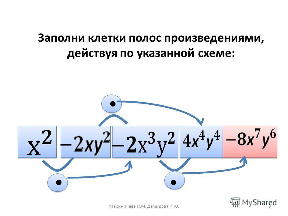 Заполни клетки полос произведениями, действуя по указанной схеме: 8Мариничева И.М. Демидова И.Ю.