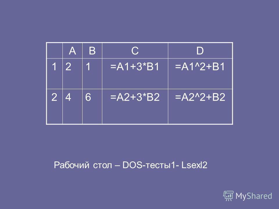 ABCD 121=A1+3*B1=A1^2+B1 246=A2+3*B2=A2^2+B2 Рабочий стол – DOS-тесты1- Lsexl2