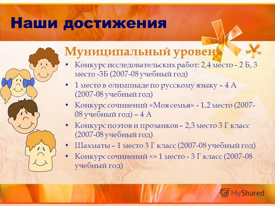 Муниципальный уровень Конкурс исследовательских работ: 2,4 место - 2 Б, 3 место -3Б (2007-08 учебный год) 1 место в олимпиаде по русскому языку – 4 А (2007-08 учебный год) Конкурс сочинений «Моя семья» - 1,2 место (2007- 08 учебный год) – 4 А Конкурс