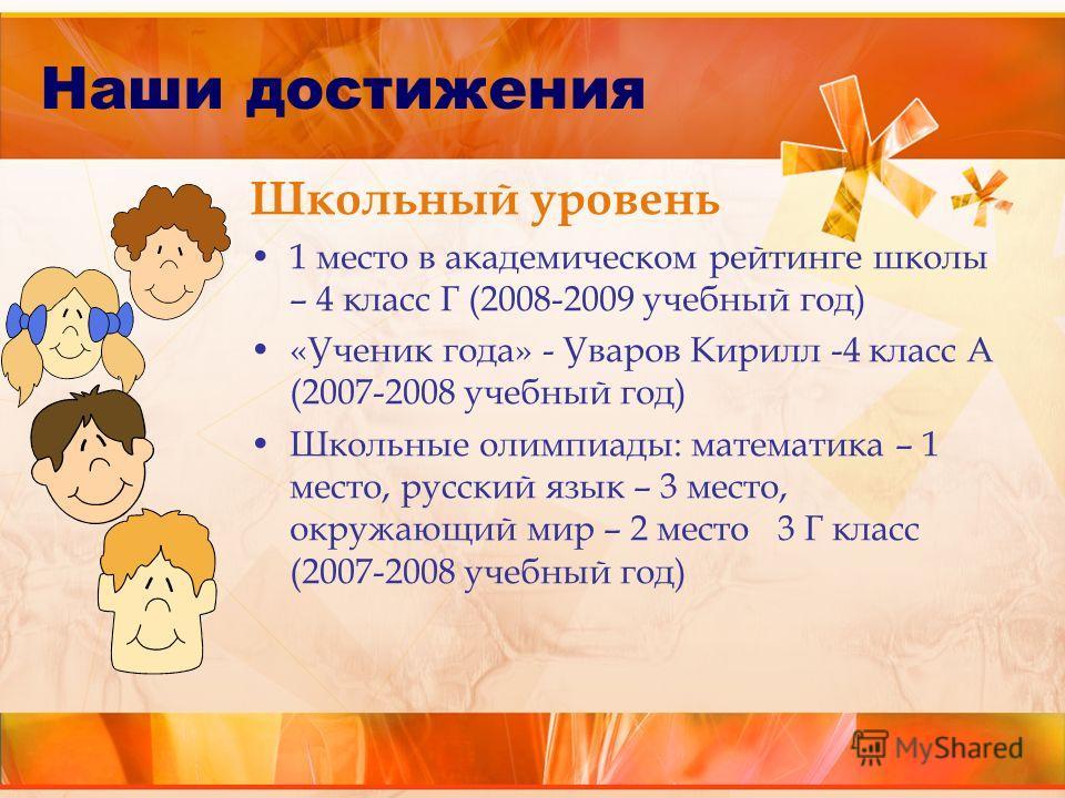 Школьный уровень 1 место в академическом рейтинге школы – 4 класс Г (2008-2009 учебный год) «Ученик года» - Уваров Кирилл -4 класс А (2007-2008 учебный год) Школьные олимпиады: математика – 1 место, русский язык – 3 место, окружающий мир – 2 место 3