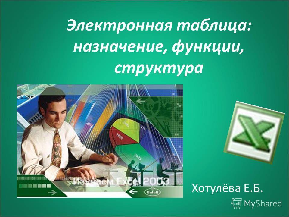 Электронная таблица: назначение, функции, структура Хотулёва Е.Б.