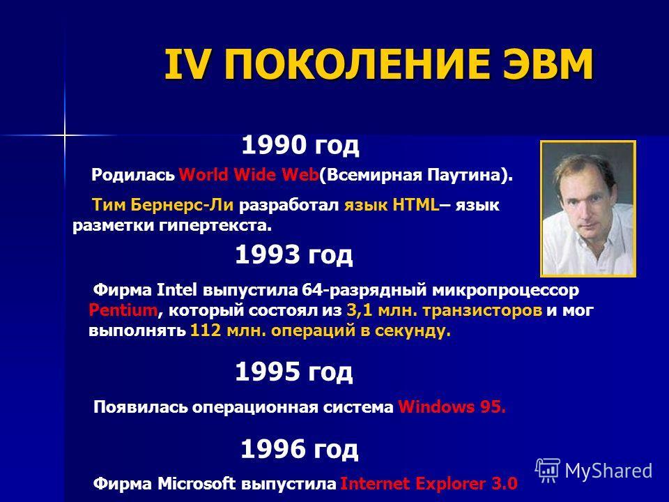 1990 год Родилась World Wide Web(Всемирная Паутина). Тим Бернерс-Ли разработал язык HTML– язык разметки гипертекста. 1993 год Фирма Intel выпустила 64-разрядный микропроцессор Pentium, который состоял из 3,1 млн. транзисторов и мог выполнять 112 млн.