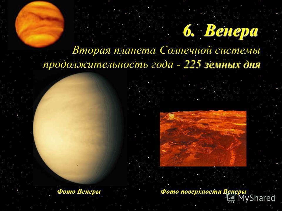 6. Венера 225 земных дня Вторая планета Солнечной системы продолжительность года - 225 земных дня Фото поверхности ВенерыФото Венеры