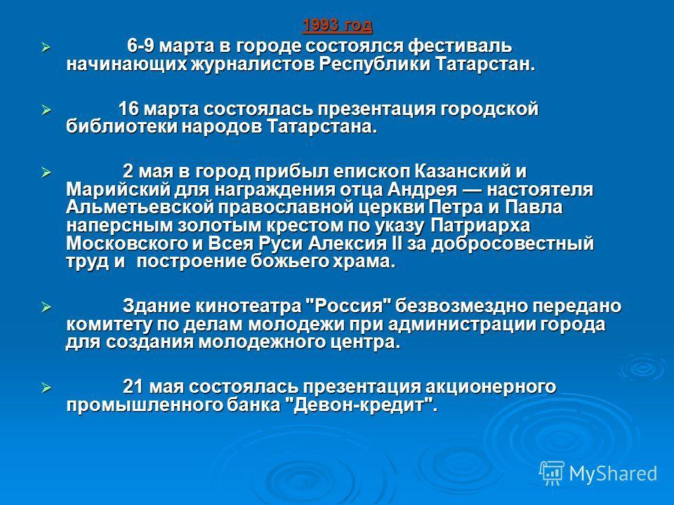 1993 год 6-9 марта в городе состоялся фестиваль начинающих журналистов Республики Татарстан. 6-9 марта в городе состоялся фестиваль начинающих журналистов Республики Татарстан. 16 марта состоялась презентация городской библиотеки народов Татарстана.