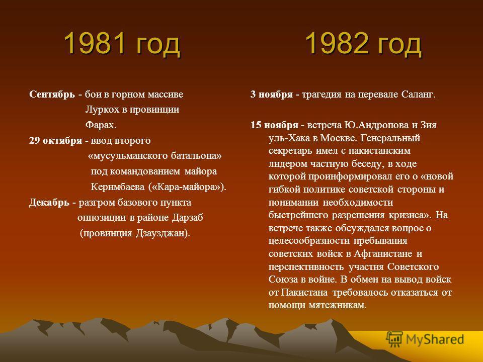 1981 год 1982 год 1981 год 1982 год Сентябрь - бои в горном массиве Луркох в провинции Фарах. 29 октября - ввод второго «мусульманского батальона» под командованием майора Керимбаева («Кара-майора»). Декабрь - разгром базового пункта оппозиции в райо