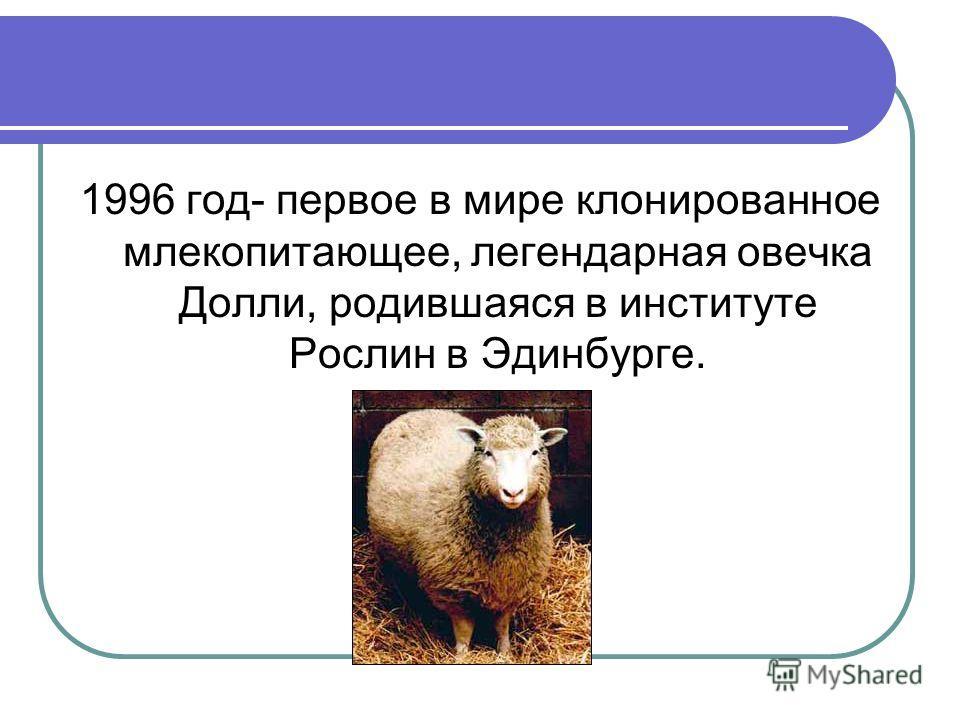 1996 год- первое в мире клонированное млекопитающее, легендарная овечка Долли, родившаяся в институте Рослин в Эдинбурге.