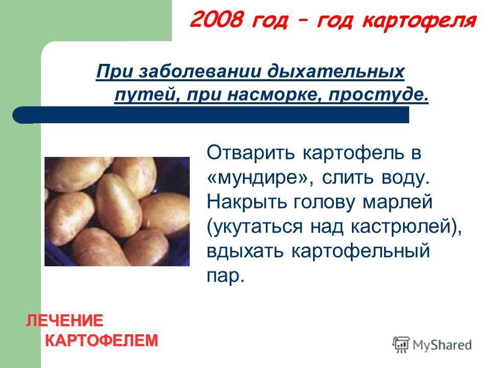 2008 год – год картофеля При заболевании дыхательных путей, при насморке, простуде. Отварить картофель в «мундире», слить воду. Накрыть голову марлей (укутаться над кастрюлей), вдыхать картофельный пар. ЛЕЧЕНИЕ КАРТОФЕЛЕМ