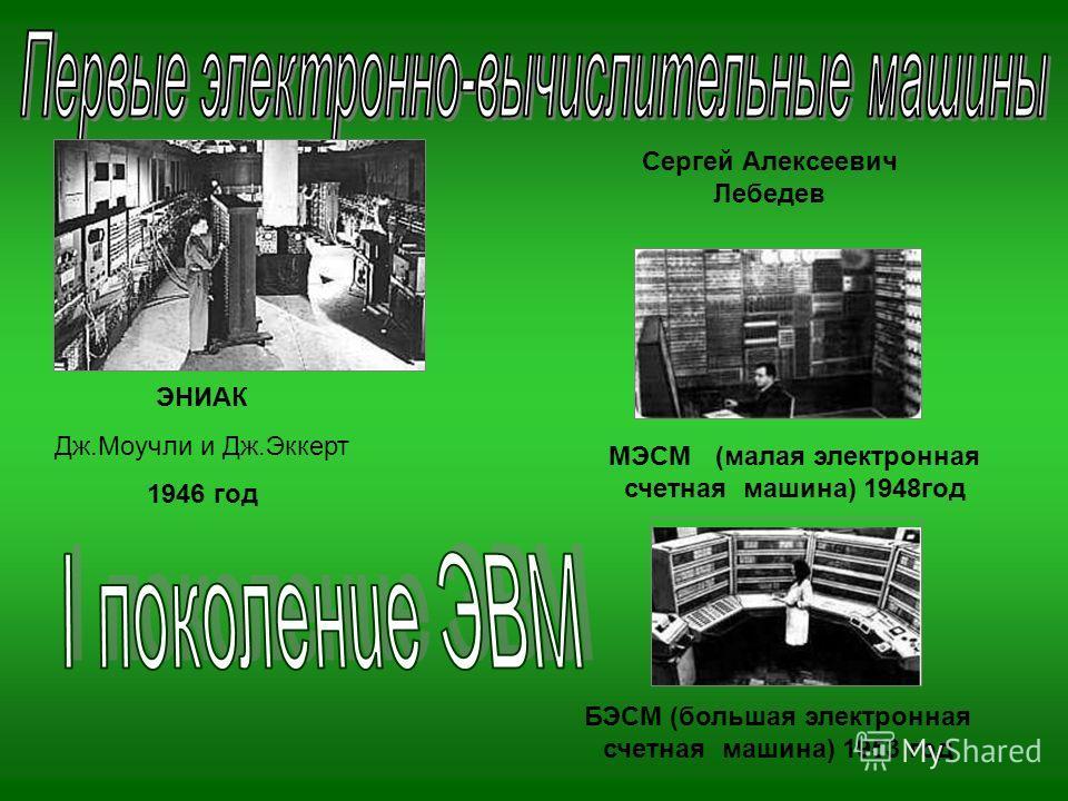 ЭНИАК Дж.Моучли и Дж.Эккерт 1946 год МЭСМ (малая электронная счетная машина) 1948год БЭСМ (большая электронная счетная машина) 1953 год Сергей Алексеевич Лебедев
