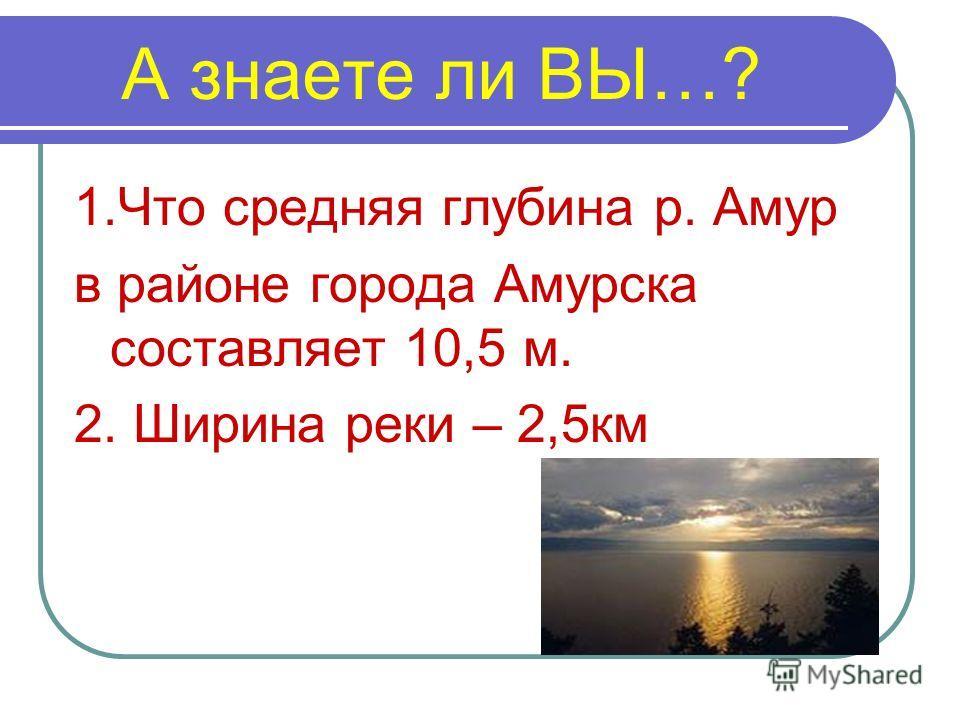 А знаете ли ВЫ…? 1.Что средняя глубина р. Амур в районе города Амурска составляет 10,5 м. 2. Ширина реки – 2,5км