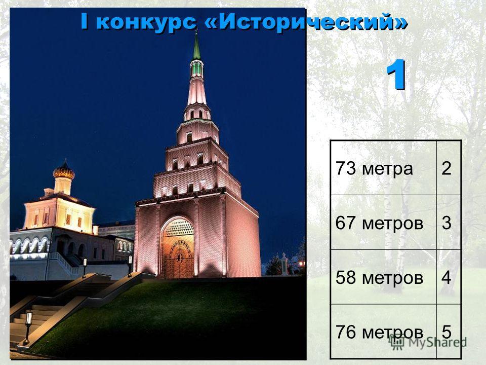 73 метра2 67 метров3 58 метров4 76 метров5 I конкурс «Исторический» 1 1