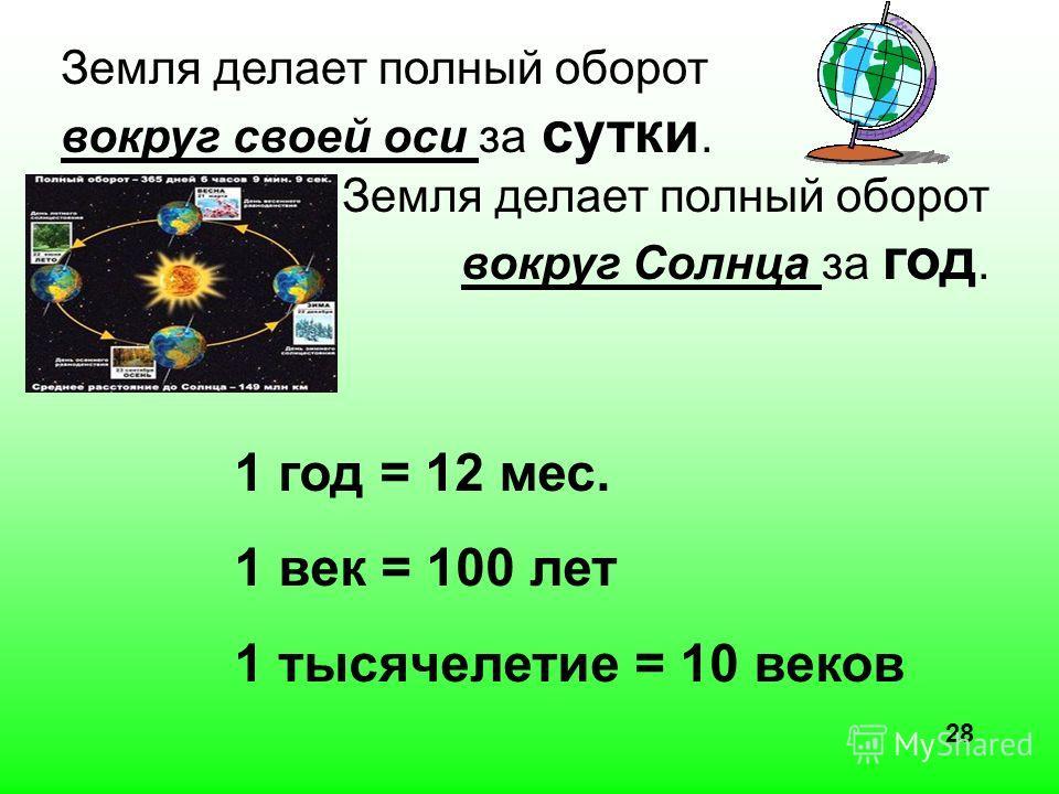 Земля делает полный оборот вокруг своей оси за сутки. Земля делает полный оборот вокруг Солнца за год. 1 год = 12 мес. 1 век = 100 лет 1 тысячелетие = 10 веков 28
