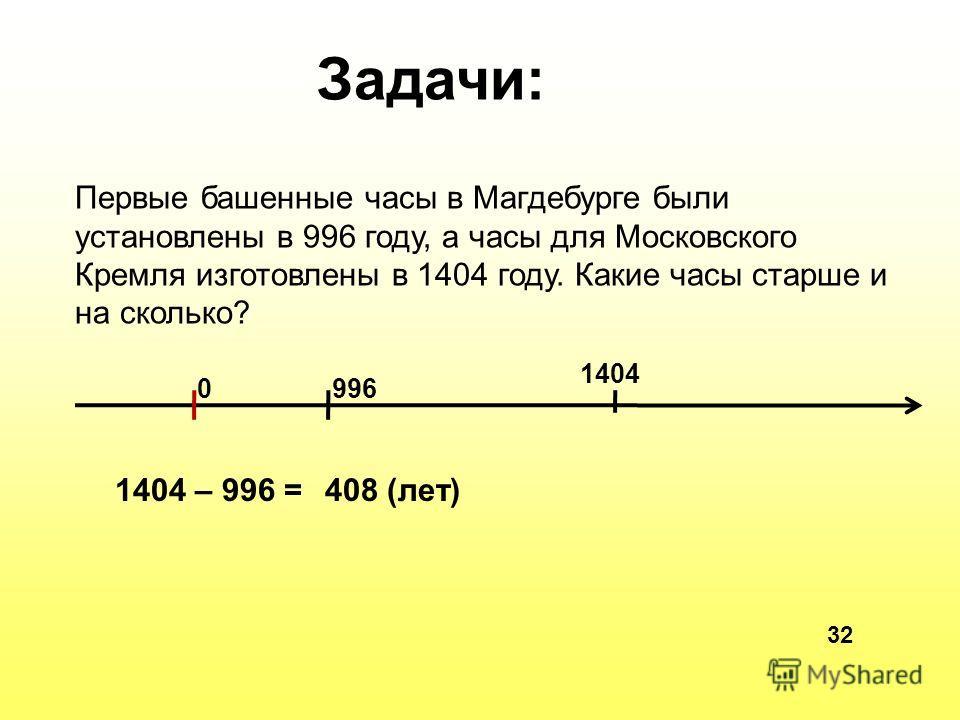Первые башенные часы в Магдебурге были установлены в 996 году, а часы для Московского Кремля изготовлены в 1404 году. Какие часы старше и на сколько? Задачи: 0996 1404 1404 – 996 =408 (лет) 32