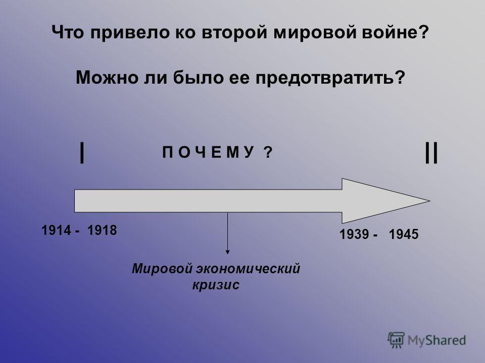 III 1914 - 1939 - 1918 1945 Мировой экономический кризис П О Ч Е М У ? Что привело ко второй мировой войне? Можно ли было ее предотвратить?