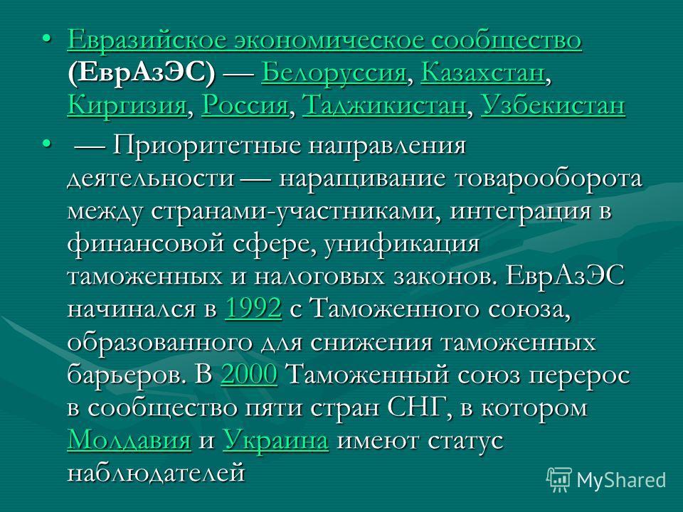 Евразийское экономическое сообщество (ЕврАзЭС) Белоруссия, Казахстан, Киргизия, Россия, Таджикистан, УзбекистанЕвразийское экономическое сообщество (ЕврАзЭС) Белоруссия, Казахстан, Киргизия, Россия, Таджикистан, УзбекистанЕвразийское экономическое со
