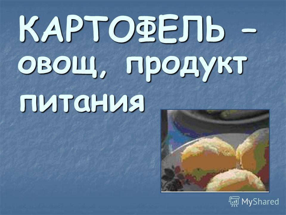 КАРТОФЕЛЬ – овощ, продукт питания
