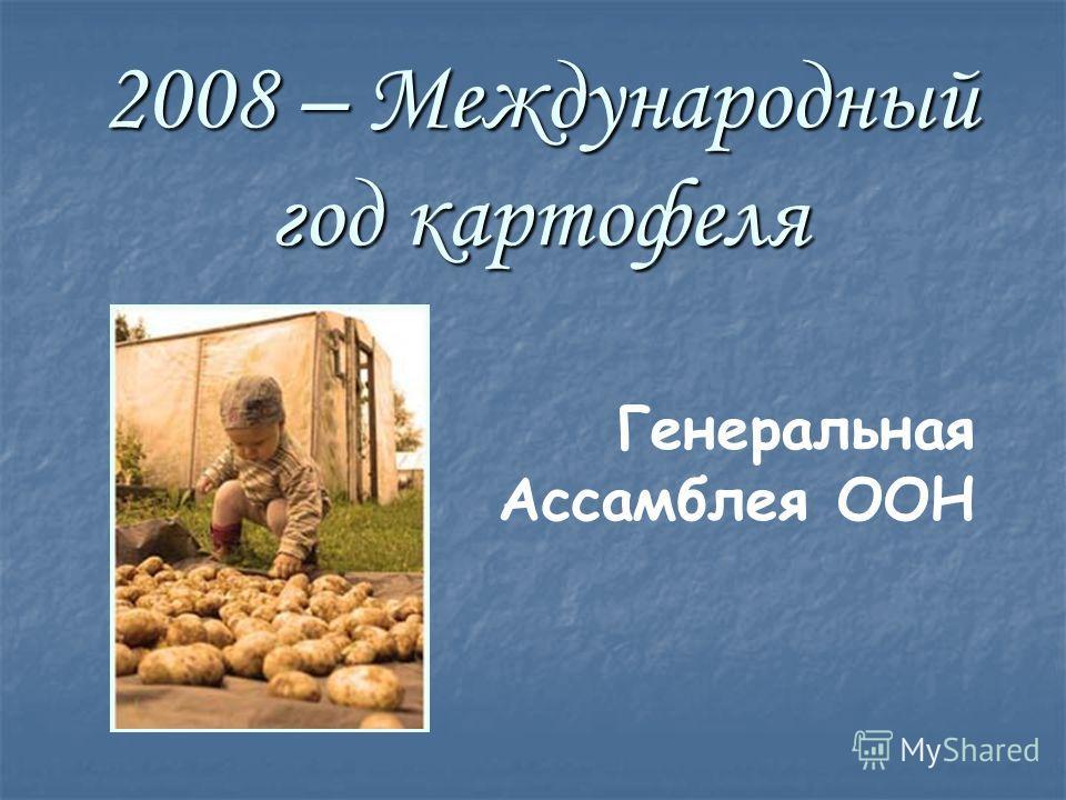 2008 – Международный год картофеля Генеральная Ассамблея ООН