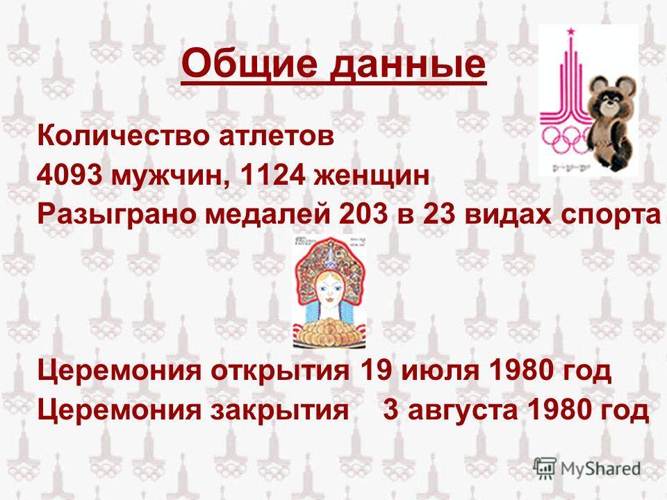 Общие данные Количество атлетов 4093 мужчин, 1124 женщин Разыграно медалей 203 в 23 видах спорта Церемония открытия 19 июля 1980 год Церемония закрытия 3 августа 1980 год