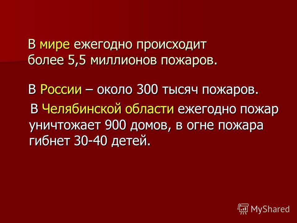 В мире ежегодно происходит более 5,5 миллионов пожаров. В мире ежегодно происходит более 5,5 миллионов пожаров. В России – около 300 тысяч пожаров. В России – около 300 тысяч пожаров. В Челябинской области ежегодно пожар уничтожает 900 домов, в огне