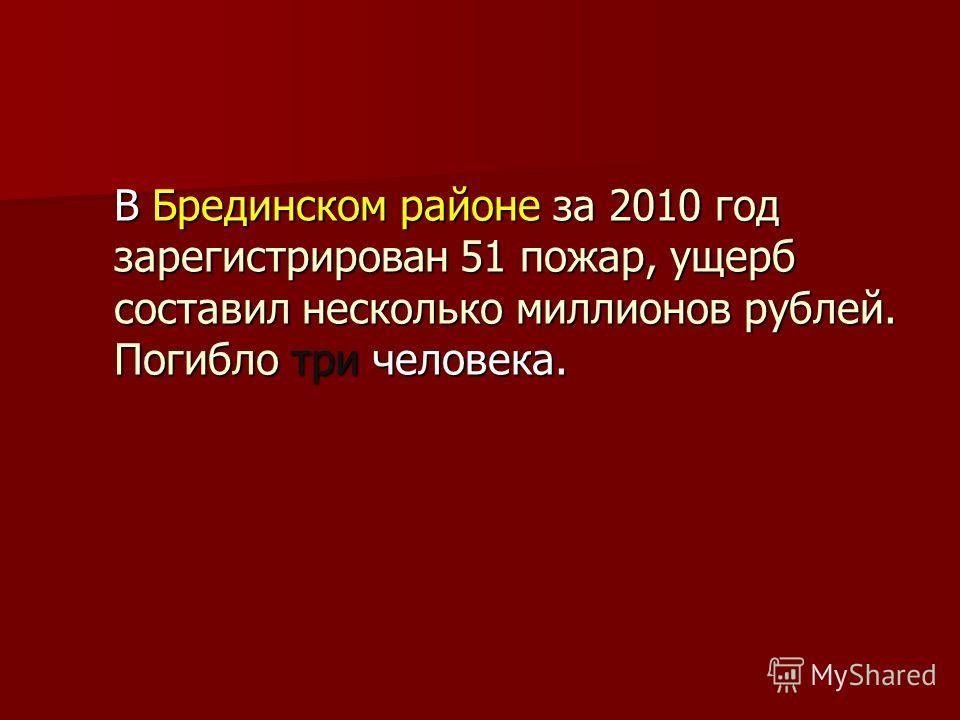 В Брединском районе за 2010 год зарегистрирован 51 пожар, ущерб составил несколько миллионов рублей. Погибло три человека. В Брединском районе за 2010 год зарегистрирован 51 пожар, ущерб составил несколько миллионов рублей. Погибло три человека.
