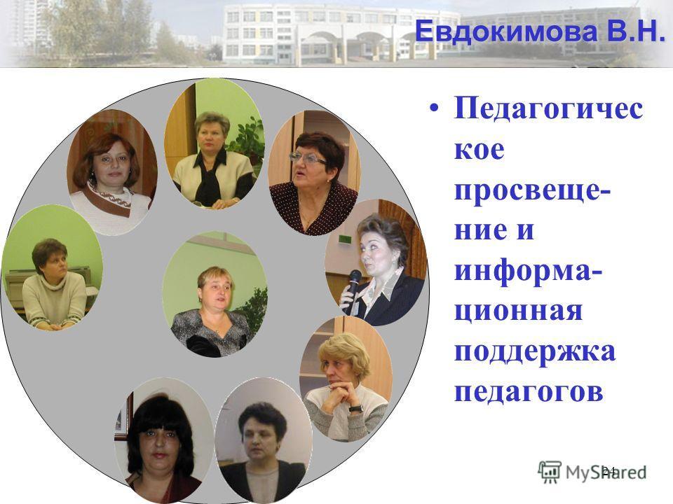 24 Евдокимова В.Н. Педагогичес кое просвеще- ние и информа- ционная поддержка педагогов