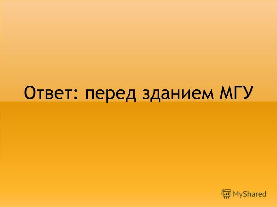 Ответ: перед зданием МГУ