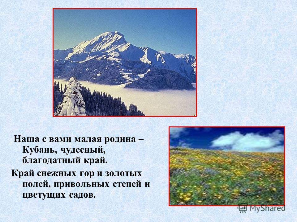 Наша с вами малая родина – Кубань, чудесный, благодатный край. Край снежных гор и золотых полей, привольных степей и цветущих садов.