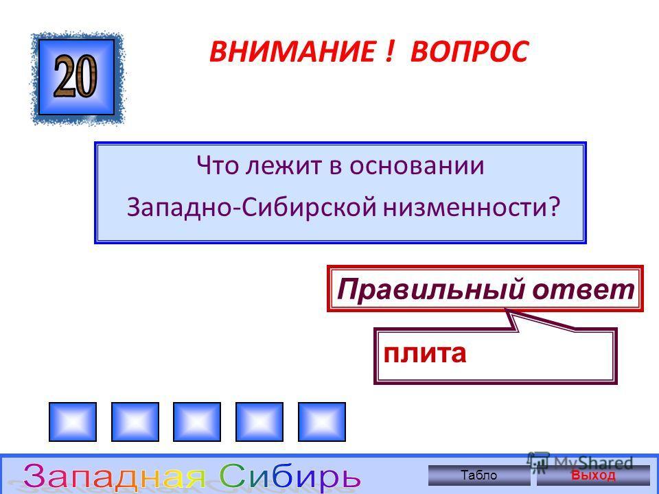 ВНИМАНИЕ ! ВОПРОС Где берут сырье ТПК Западной Сибири? Правильный ответ Сырье собственное ТаблоВыход