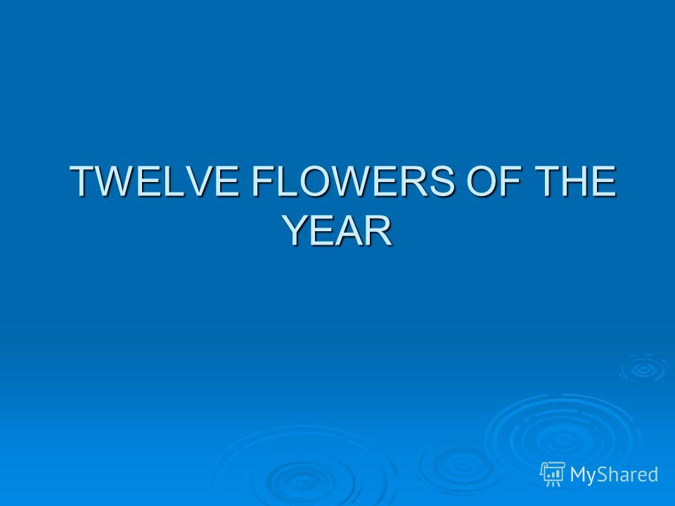 TWELVE FLOWERS OF THE YEAR TWELVE FLOWERS OF THE YEAR