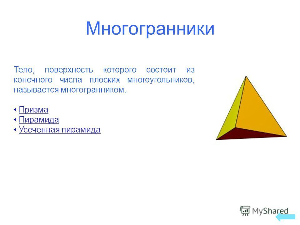 Тело, поверхность которого состоит из конечного числа плоских многоугольников, называется многогранником. Призма Пирамида Усеченная пирамида Многогранники