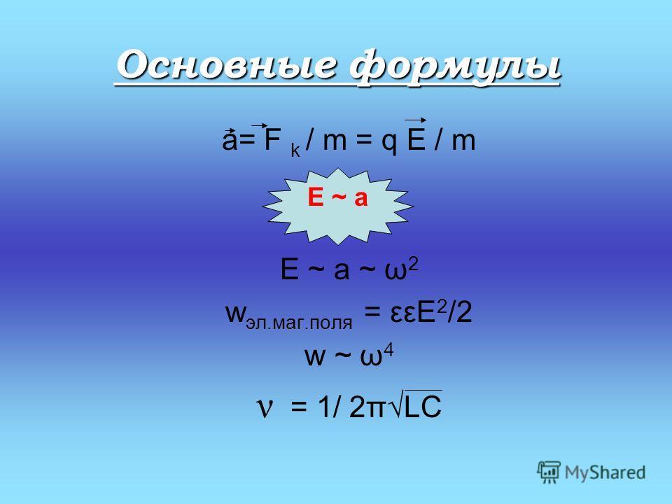 Основные формулы a= F k / m = q E / m E ~ a ~ ω 2 w эл.маг.поля = εεE 2 /2 w ~ ω 4 ν = 1/ 2πLC E ~ a