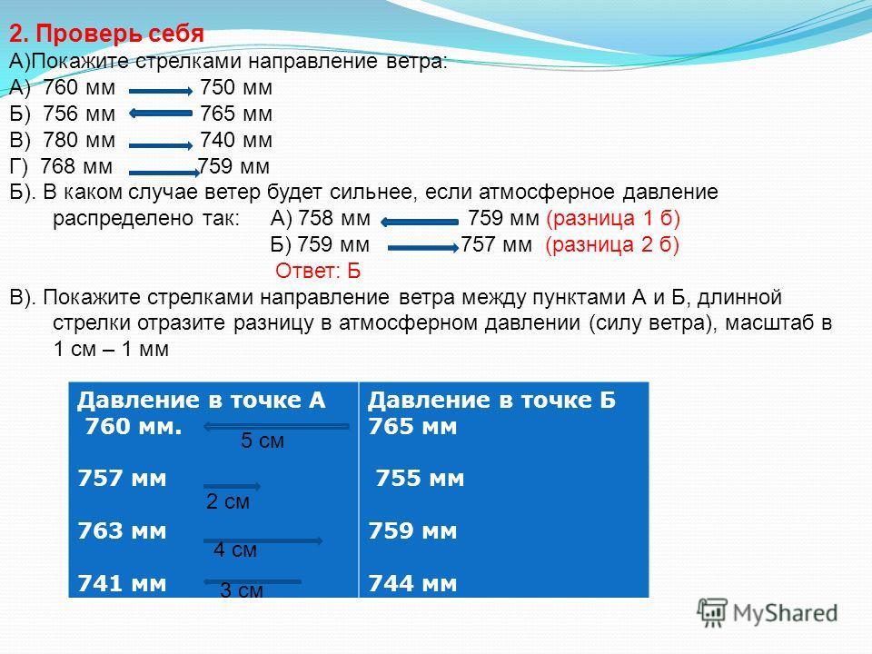 2. Проверь себя А)Покажите стрелками направление ветра: А) 760 мм 750 мм Б) 756 мм 765 мм В) 780 мм 740 мм Г) 768 мм 759 мм Б). В каком случае ветер будет сильнее, если атмосферное давление распределено так: А) 758 мм 759 мм (разница 1 б) Б) 759 мм 7