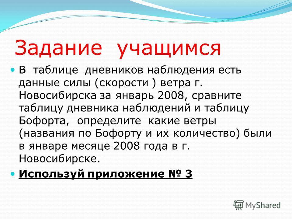 Задание учащимся В таблице дневников наблюдения есть данные силы (скорости ) ветра г. Новосибирска за январь 2008, сравните таблицу дневника наблюдений и таблицу Бофорта, определите какие ветры (названия по Бофорту и их количество) были в январе меся