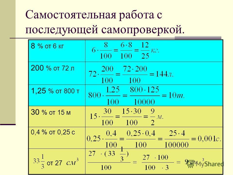 Самостоятельная работа с последующей самопроверкой. 8 % от 6 кг 200 % от 72 л 1,25 % от 800 т 30 % от 15 м 0,4 % от 0,25 с от 27