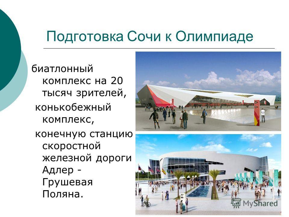 Подготовка Сочи к Олимпиаде биатлонный комплекс на 20 тысяч зрителей, конькобежный комплекс, конечную станцию скоростной железной дороги Адлер - Грушевая Поляна.