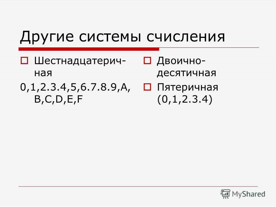 Другие системы счисления Шестнадцатерич- ная 0,1,2.3.4,5,6.7.8.9,A, B,C,D,E,F Двоично- десятичная Пятеричная (0,1,2.3.4)